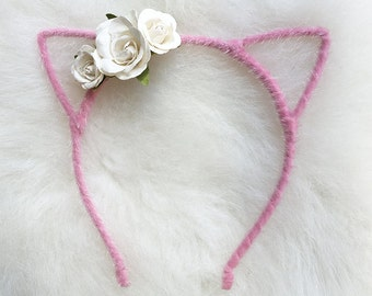 Soft Pink Kitty Ear Headband with White Flowers
