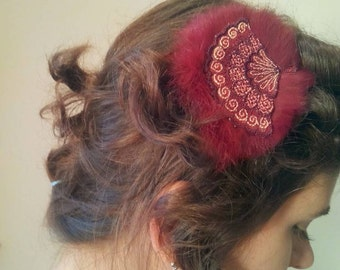 Vintage style handmade hair pin, hair clip, fascinator, lace, rabbit hair