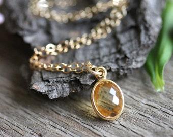 Tiny Citrine Bezel Pendant, Gold Filled Chain, Yellow Gemstone Necklace, November Birthstone