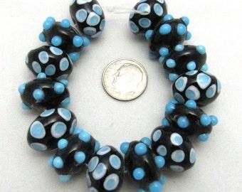1 Strand Handmade Rondelles Lampwork Beads in Blue and Black (B35f)