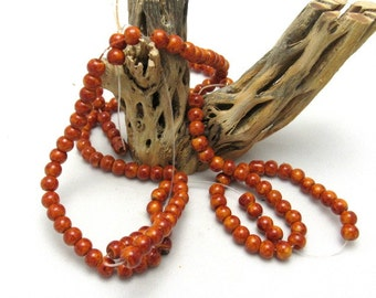 1 Strand Mottled Orange 6mm Round Glass Beads (B41H1)