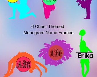 Cheer Monogram SVG Frames. Cheerleading vinyl cutting files for Silhouette cameo and Cricut design space. Vine monogram font included.