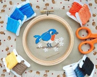 Busy Little Bluebird Cross Stitch Pattern PDF   Cute Little Bird   Easy   Modern   Beginners Counted Cross Stitch   Instant Download