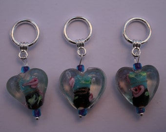 A set of three snag-less glass lampwork bead heart Stitch markers for knitting. For needles up to 6mm. US size 10.