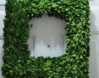 Boxwood Wreath , Preserved  Boxwood Wreath ,Square Wreath ,Table Wreath , Mirror Wreath , Spring Wreath, Summer Wreath