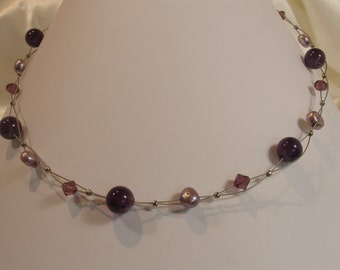 Beaded necklace Amethyst Swarovski Crystal, freshwater pearls lilac and purple.