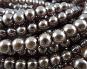CP-Dusty Mauve Glass Pearls by Lady Pruchez tm #42