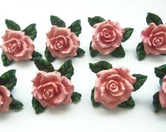 ROSE DRAWER PULLS - Pink Roses Drawer Knobs - Set of 8