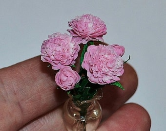 Flower for dollhouse, scale of 1:12, miniature plant, dollhouse flower, dollhouse plant, Peonies, polymer clay Fimo.