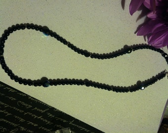 Black Crystal and Silver Beaded Necklace with Clasp