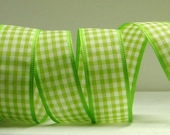 1-1/2 inch Wired Ribbon ~ Lime Green & White Gingham Ribbon ~ Small Checkerboard ~ Spring Ribbon ~ 5 Yards