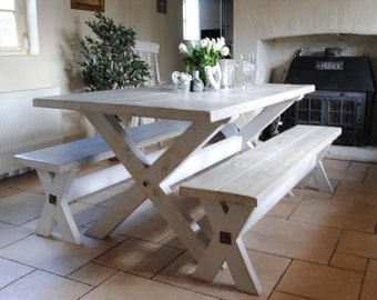 X Frame Rustic Reclaimed Wood Hand Made Dining Table with Paint Effect