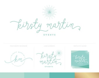 Script Logo Design Branding Package Inc. Photography Logo Watermark - Mint Turquoise Gold Script Brand Kit