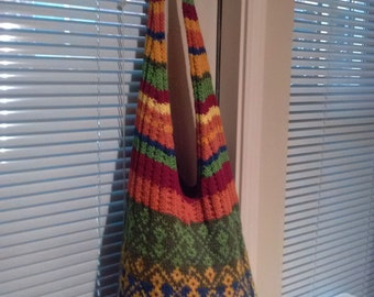 Fair Isle Knitted Over the Shoulder Shopping Bag