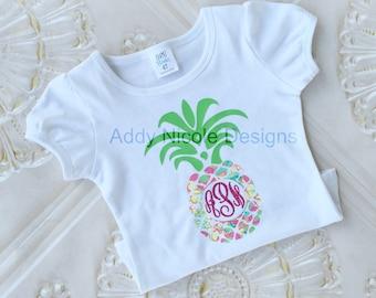 Lily Pulitzer Pineapple Monogram Shirt, Pineapple Monogram Shirt, Glitter Monogram Shirt
