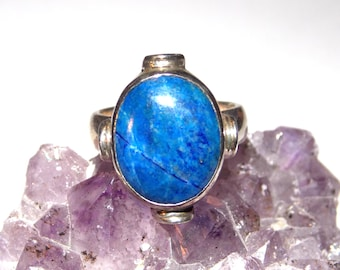 Size 5 Vintage Silver Blue Stone Ring