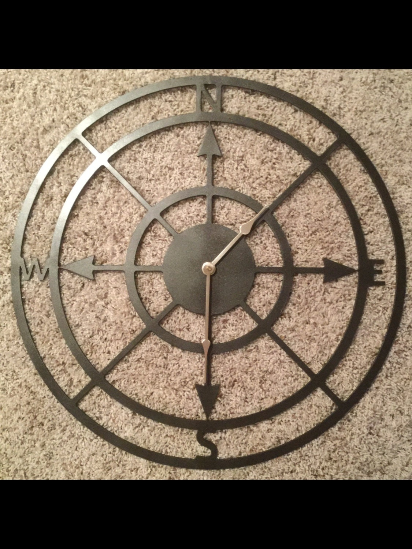 compass clock large metal sign custom made sailing plasma