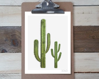 Table note photo print Cactus pad. Botanical and tropical decor.