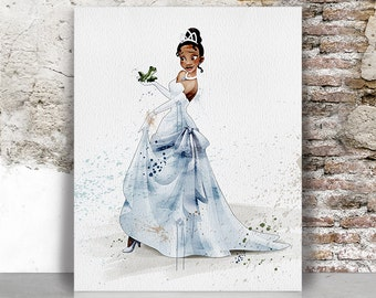Tiana print, Princess and the Frog, Disney, Watercolor Print, Children's gift, Wall art, Nursery Gift, Art Decor, Wall Hanging, FamouStars.