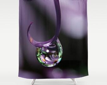 Purple Shower Curtain, Water Drop Bathroom Decor, Purple Rain Drop SHower  Decor, Nature Part 94