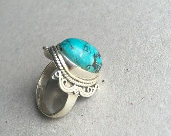 handmade silver turqoise ring