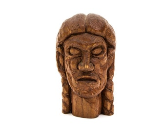 Native American Death Mask Wood Carving