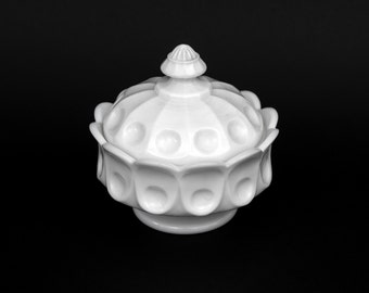 Westmoreland Glass, Candy Compote, Milk Glass, Thumbprint Covered Compote, Candy Dish