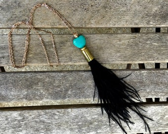 Turquoise heart bullet and feather necklace •