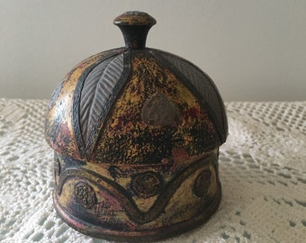 Trinket copper and wood covered dish