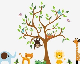 "Jungle Wall Decals - Safari Wall Decals - Animal Wall Stickers - Removable Nursery Stickers - Giraffe Decal - Nursery Decor Art - 89"" x 135"""