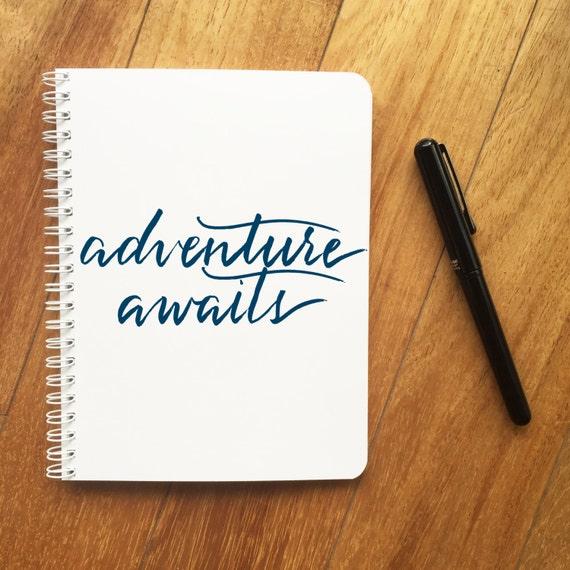 Adventure awaits travel journal brush calligraphy modern