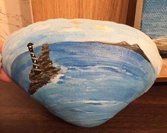 Hand Painted Lighthouse on Seashell