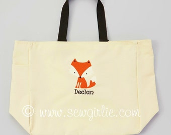 Adorable Monogrammed Fox Tote