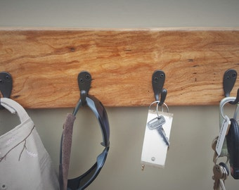 Cherry Wood Key Rack - Rustic Highly Figured Cherry Wood Natural