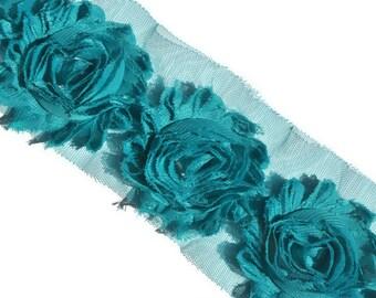 Teal Blue Shabby Flowers, Shabby Chiffon Flowers, Wholesale Flowers, Headband Supplies, DIY Flowers, Fabric Flower Applique, #S1