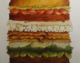 America The Burgerful 23x35 Poster 1981 College Humor Fastfood Hamburger