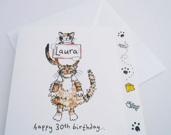 Cat Birthday or any Occasion Card ( Personalised )