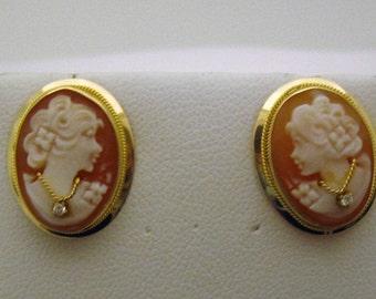 14K Cameo Earrings, Diamond Necklace, Italy, #8275