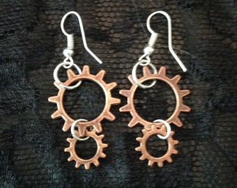 Copper Gear Earrings, Steampunk Earrings