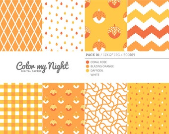 Digital Paper Orange 'Pack01' Chevron, Gingham, Drops, Fruits, Crosshatch & Abstract Backgrounds for Scrapbook, DIY Projects...