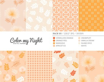 Digital Paper Orange 'Pack05' Floral, Leaves, Dots & Geometric Scrapbook Backgrounds for Invitations, Scrapbooking, Crafts...