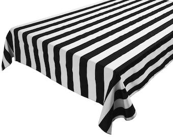 Cotton Table Cloth Stripes / Lines 2 Inch Large Stripe Black White