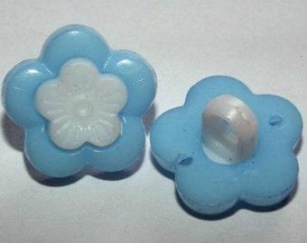 Flower Buttons, Daisy Buttons, Blue Buttons, Blue Shanks, Childrens Buttons, Resin Button, Novelty Buttons,