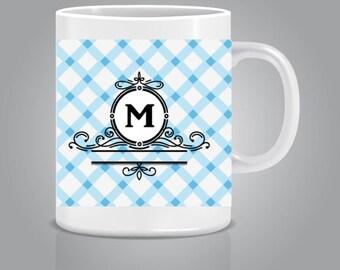 Mug personalized initials blue
