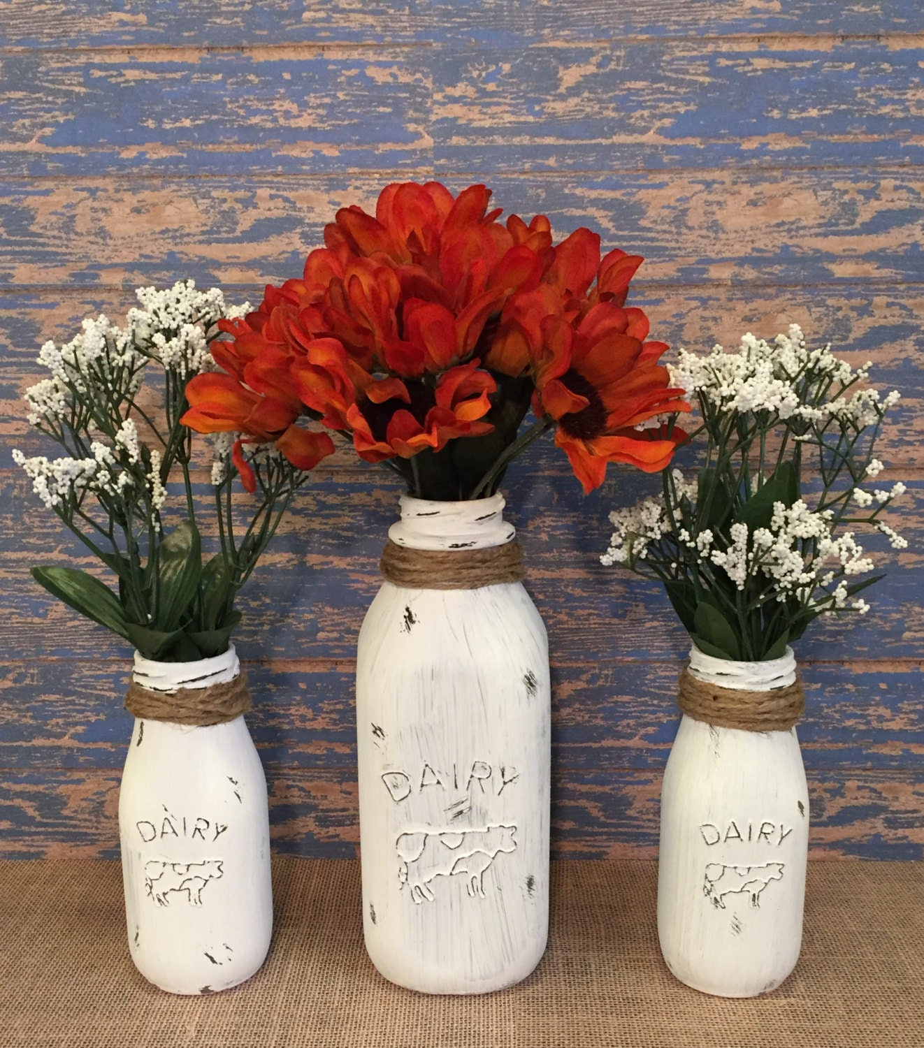 Milk Bottles Distressed Home Decor Farmhouse By