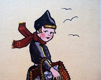 Volendam - Holland - Two Old Netherlands Souvenir Postcards , Dutch Girl with Wooden Shoes , Dutch Boy Postcard