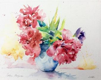 Peinture rose pivoine etsy for Aquarelle livraison fleurs