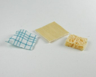 Dollhouse miniatures, janitorial supplies in miniature 1zu12 for the doll's House, sponge, leather cloth, wiping cloth