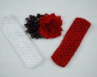 Red/White/Black Heart Shabby Flower Clip with 2 Crochet Headbands