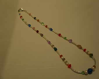 Necklace. Swarovski Crystals. Pearls. Sterling Silver.